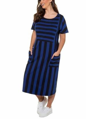 Ulla Popken Women's Groe Groen Jerseykleid Streifendesign Dress