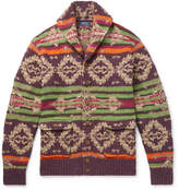 Polo Ralph Lauren - Shawl-Collar Suede-Trimmed Fair Isle Knitted Cardigan