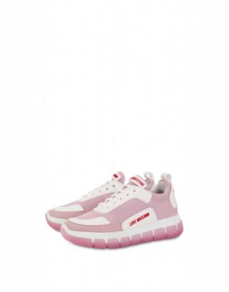 Love Moschino Mesh Sneakers Love Tassel Woman Pink Size 35 It - (5 Us)