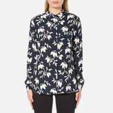 Ganni Women's Maxwell Crepe Shirt Vanilla Ice Bell Flower