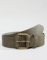 Asos Wide Belt in Gray With Buckle Detail