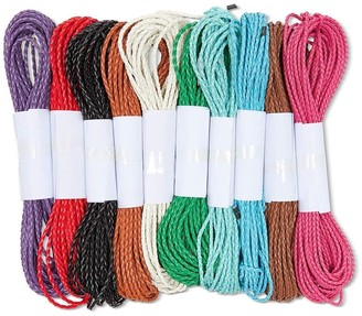 Bright Creations 10 Pack 10.9 Yards Each 3 mm Faux Suede Leather Cord String Braided, 10 Colors - Pink