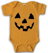 Crazy Dog T-shirts Crazy Dog Tshirts Baby Pumpkin Face Halloween Bodysuit Creeper for Infants -3-6mths