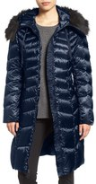 Tahari Emma Quilted Down & Feather Coat with Faux Fur Trim