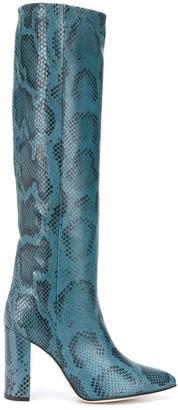 Paris Texas Knee Length Snakeskin-Effect Boots