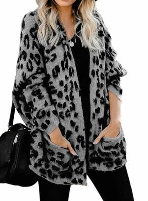 CORAFRITZ Ladies Long Sleeve Pocket Cardigan Plus Size Womens Loose Leopard Print Sweater Open Front Knit Cardigan Gray M