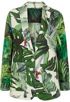 Max Mara Printed Linen And Silk-twill Blazer - Green