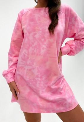 Missguided Pink Tie Dye Oversized Sweater Dress