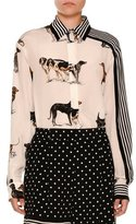Stella McCartney Stripe-Trim Dog-Print Silk Blouse, White