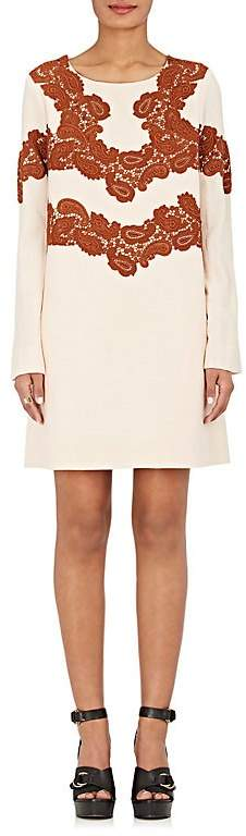 Chloé WOMEN'S LACE-APPLIQUÉD WOOL-BLEND SHIFT DRESS