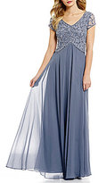 J Kara Petite V-Neck Beaded Chiffon Gown