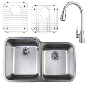 "Blanco Stellar 32"" L x 21"" W Double Basin Undermount Kitchen Sink with Faucet, Sink Grid and Sink Strainer"