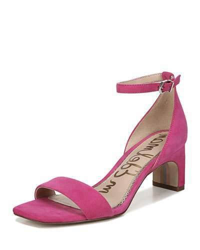 Sam Edelman Holmes Suede Ankle-Strap Sandals, Magenta