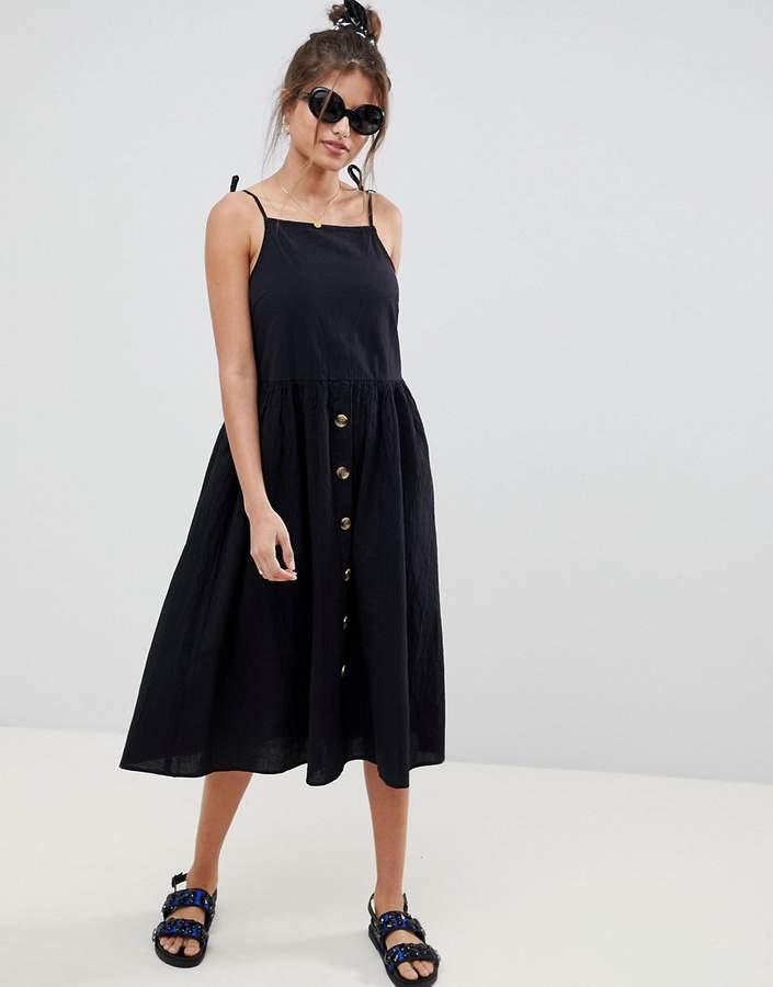 Asos Design DESIGN button through casual cami midi smock sundress