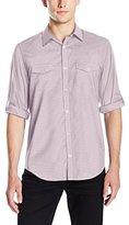 Calvin Klein Men's Gingham Print Roll Tab Long Sleeve Button Down Shirt