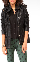 Forever 21 Faux Leather Coat w/ Detachable Hood