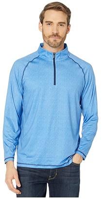 Bugatchi Achile Long Sleeve Knit - 1/2 Zip Mock Neck (Alfa Blue) Men's Clothing