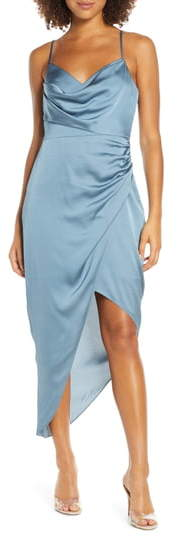Ever New Asymmetrical Cowl Neck Satin Dress