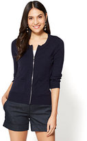 New York & Co. 7th Avenue - Zip-Front Chelsea Crewneck Cardigan