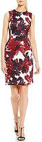 Calvin Klein Petite Leaf-Print Scuba Sheath Dress
