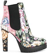 Alexander McQueen floral heeled chelsea boots - women - Calf Leather/Leather/rubber - 36
