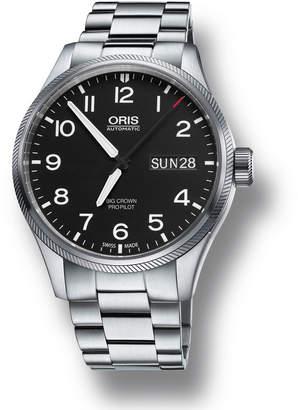 Oris Men's 45mm Big Crown Propilot Day-Date Watch, Black/Steel