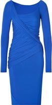 Donna Karan Long Sleeve Draped Dress in Electric Blue