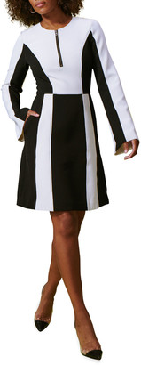 Toccin X-Ray Zip-Front Colorblock A-Line Dress