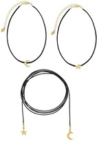 Sterling Forever Star & Moon Multi Suede and Leather Choker Set