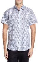 Stone Rose Men's Trim Fit Turtle Print Sport Shirt