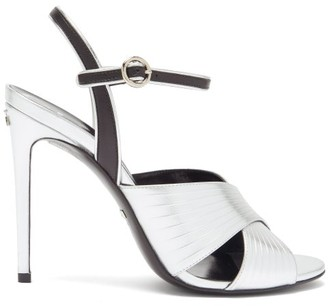 Gucci Betsy Crossover Metallic-leather Sandals - Silver