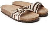 Mandel Beige Zebra Print Agata Leather Sandal - Women