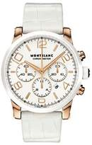 Montblanc Timewalker Chronograph Automatic White Leather Strap Swiss Rose Gold Watch 104669