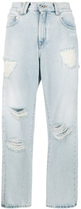 Off-White Ripped Straight Leg Jeans