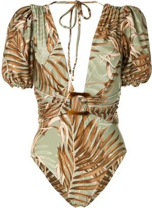 PatBO Palmeira puff-sleeve swimsuit