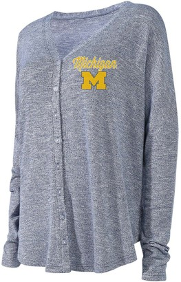 Unbranded Women's Concepts Sport Navy Michigan Wolverines Knit Button-Up Sweater