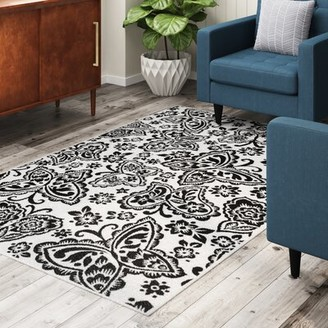 """Harriet Bee Stacy Ivory/Black Area Rug Rug Size: Rectangle 2'7"""" x 3'11"""""""