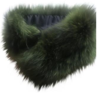 CHARLOTTE SIMONE Green Fur Scarves
