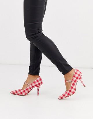ASOS DESIGN Strallen mary-jane mid heels in pink gingham