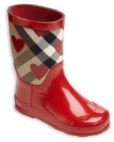 Burberry Kid's Rubber & Canvas Heart-Print Rain Boots