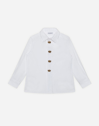 Dolce & Gabbana Poplin Shirt With Crown Embroidery