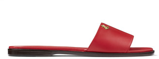 Jimmy Choo MINEA FLAT Red Nappa Leather Flats with Gold JC Button