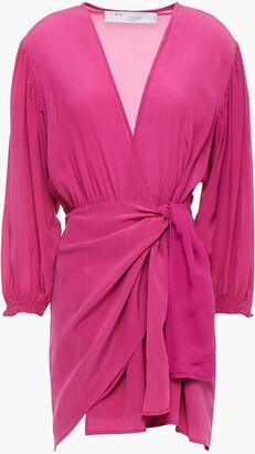 IRO Nirvana Silk Crepe De Chine Mini Wrap Dress