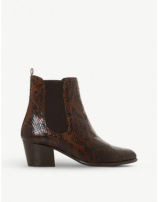 Dune Pattersson snake-print leather Chelsea boots
