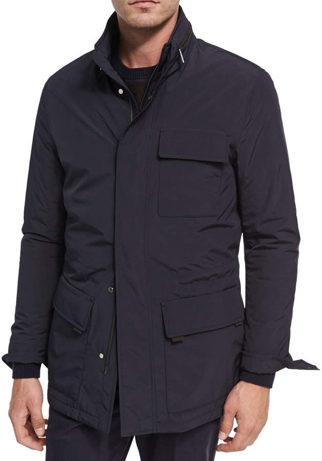 Ermenegildo Zegna Mid-Length Field Jacket with Removable Hood