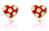 Red Polka Dot Heart Stud Earrings