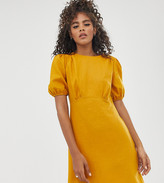Asos Tall DESIGN Tall linen mini dress with puff sleeves