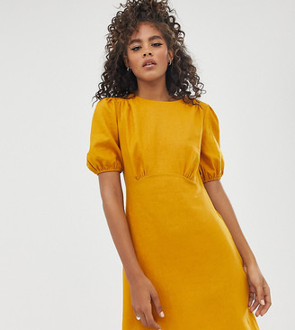 Asos Tall ASOS DESIGN Tall linen mini dress with puff sleeves