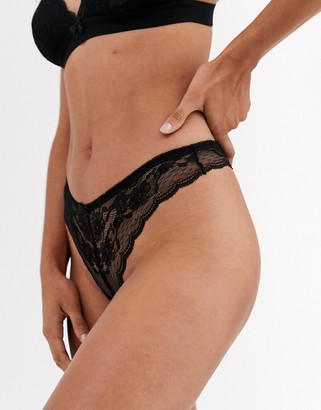 New Look lace thong in black