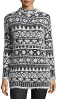 1 STATE 1.STATE Mock-Neck Fair Isle Sweater, Off White